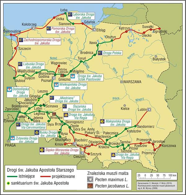 Drogi św. Jakuba w Polsce - istniejące i planowane